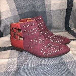 Schutz jeweled red bootie with a low heel